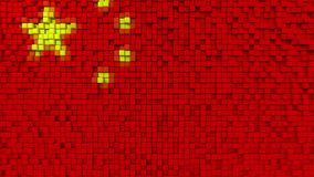Stylized mosaic flag of China made of pixels, 3D rendering. Stylized Chinese flag made of big pixels Royalty Free Stock Image