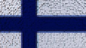 Stylized mosaic flag of Finland made of pixels, 3D rendering. Stylized Finnish flag made of big pixels Stock Photo