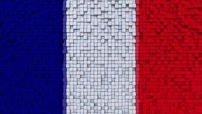 Stylized mosaic flag of France made of pixels, 3D rendering. Stylized French flag made of big pixels Royalty Free Stock Photography