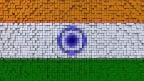 Stylized mosaic flag of India made of pixels, 3D rendering. Stylized Indian flag made of big pixels Royalty Free Stock Photo