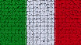 Stylized mosaic flag of Italy made of pixels, 3D rendering. Stylized Italian flag made of big pixels Royalty Free Stock Images