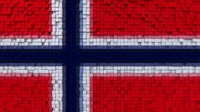 Stylized mosaic flag of Norway made of pixels, 3D rendering. Stylized Norwegian flag made of big pixels Stock Photo