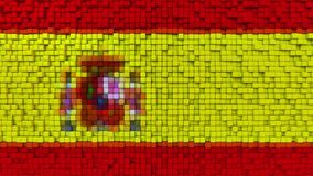 Stylized mosaic flag of Spain made of pixels, 3D rendering. Stylized Spanish flag made of big pixels Royalty Free Stock Images