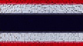 Stylized mosaic flag of Thailand made of pixels, 3D rendering. Stylized Thai flag made of big pixels Royalty Free Stock Images