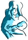 Stylized Mother and son in blue tones isolated royalty free stock photo