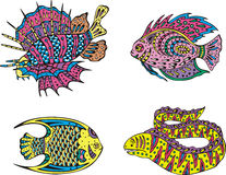 Stylized motley fish. Set of color vector illustrations Royalty Free Stock Photos