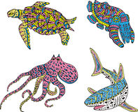 Stylized motley sea animals Royalty Free Stock Photo