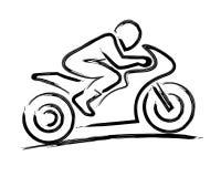 Stylized motorbiker stock images