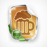 Stylized mug of beer on label Royalty Free Stock Photo