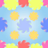 Stylized multicolored flowers on a gradient blue background.  Stock Image