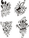 Stylized music emblems - folklore Royalty Free Stock Image