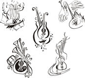 Stylized musical instruments Stock Images