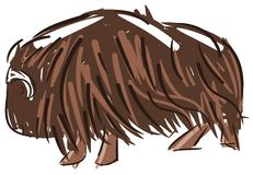 Stylized muskox. Image representing an  muskox. An idea for logos, decorations or stickers Stock Photo
