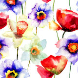 Stylized Narcissus and Poppy flowers illustration Royalty Free Stock Image