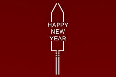 Stylized New Year`s Eve rocket on colored background Royalty Free Stock Image