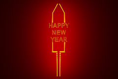 Stylized New Year`s Eve rocket on colored background Royalty Free Stock Images