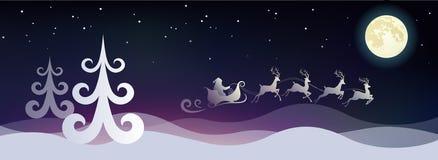 Stylized  night winter landscape with Santa  Royalty Free Stock Photography