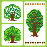 Stylized oak trees. Large stylized oak trees with acorns in the vector Royalty Free Stock Photos