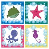 Stylized ocean life icons. Cute  drawings Royalty Free Stock Photo