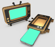 Stylized for the old TV case for modern smartphones. 3D illustration. Royalty Free Stock Photo