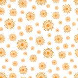 Stylized Orange Suns Pattern on a White Background Stock Photo