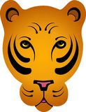 Stylized Orange Tiger - No Outline. Hand drawn stylized orange tiger head - no outline around face/ears vector illustration