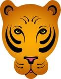 Stylized Orange Tiger - No Outline. Hand drawn stylized orange tiger head - no outline around face/ears Stock Photo