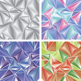 Stylized ornament texture with triangular pattern, red, green, purple, grey, blue elements. The texture is crystal, ice, glass. Vector texture Stock Illustration