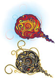 Stylized ornate fireball. Raster and Vector Vector Illustration