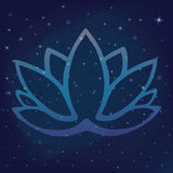Stylized outline lotus flower logo in shades of blue and purple framed on starry night sky galactic space background Hand drawn fa Stock Photo