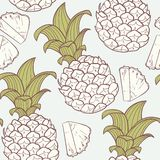 Stylized outline seamless pattern with pineapple Stock Photo