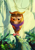 Stylized owl painted on the background of Forest Royalty Free Stock Images