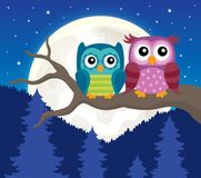 Stylized owls on branch theme image 3 Stock Images