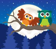 Stylized owls on branch theme image 5 Stock Photography