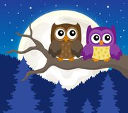 Stylized owls on branch theme image 6 Royalty Free Stock Photo