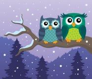 Stylized owls on branch theme image 4 Royalty Free Stock Image