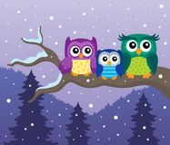Stylized owls on branch theme image 8 Royalty Free Stock Photos