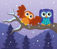 Stylized owls on branch theme image 7 Stock Image
