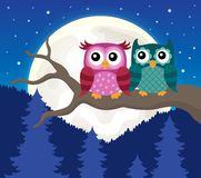 Stylized owls on branch theme image 9 Royalty Free Stock Image