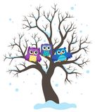 Stylized owls on tree theme image 1 Royalty Free Stock Photos