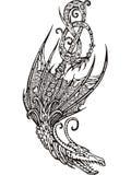 Stylized påskyndade draken royaltyfri illustrationer