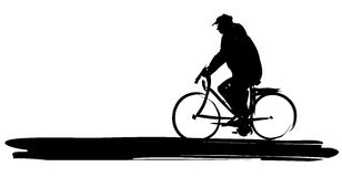 Man on bike. A stylized and painted silhouette of man on bike Royalty Free Stock Photography