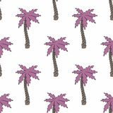 The stylized palm trees. Seamless background. Stylized pink palm trees in cartoon style. Seamless background Stock Images