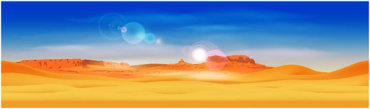 Desert and rocky mountains. Stylized panorama of the desert against the background of the rocky mountains. Seamless horizontally if needed stock illustration
