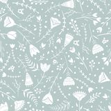 Stylized pattern, folk art, floral ornament in blue grey colors. Seamless pattern vector background for wallpaper. Textile, wrapping paper design royalty free illustration