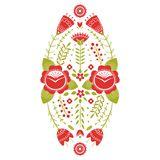 Stylized pattern, folk art, floral ornament in red and green colors. Symmetrical pattern vector background. Red and stock illustration