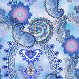 stylized pattern in mixed media with paisley on a blurred background stock illustration