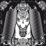 Stylized patterned head horse black and white Stock Image