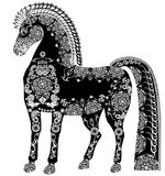 Stylized patterned horse, black and white Royalty Free Stock Photography