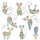 Stylized patterned illustration of cats Royalty Free Stock Photography